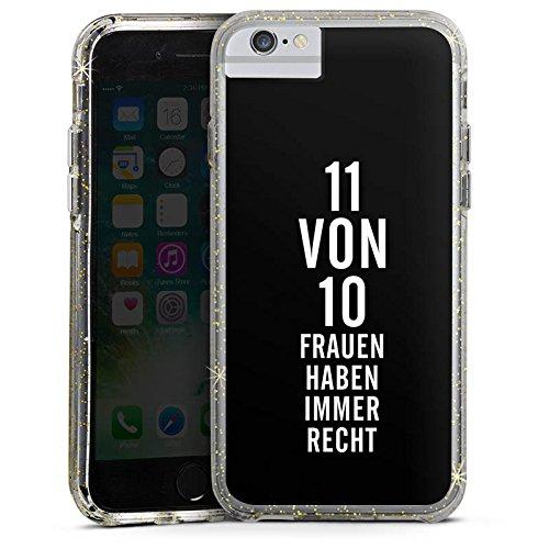 Apple iPhone 8 Bumper Hülle Bumper Case Glitzer Hülle Funny Lustig Frauen Bumper Case Glitzer gold