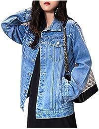 jeans jacket Chaqueta de Mezclilla para Mujer Moda Ajuste Holgado Bordado de Carpas Básico Chaqueta de