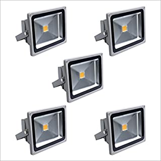 5 x AuraLum® 20W IP67 LED Waterproof Floodlight High Power Outdoor Lawn Garden Plaza Energy Saving Gray Lights - Warm White(2800K-3200K)