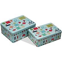 Versa  10390176 - Set de 2 cajas metal costura verde