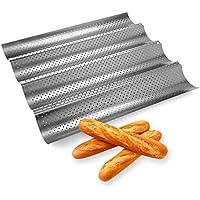 Hemore-bandeja de baguette,Antiadherente bandeja, Pan de Francés Baguette Molde para Hornear pan perforado metálico con forma de ola 4 canalones