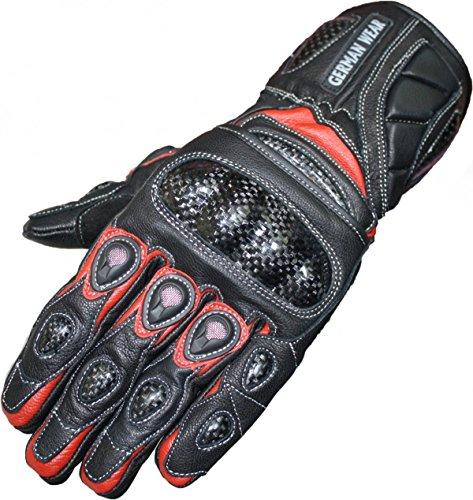 German Wear Motorradhandschuhe Motorrad Biker Handschuhe Lederhandschuhe, Größe:9=L, Farbe:Rot