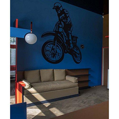Pegatinas Moto Cross y piloto, azul claro, L 80cm x H 104cm
