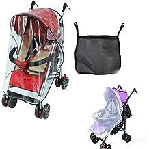 Burbuja de Lluvia - Protector contra Lluvia y Viento - Cubierta Impermeable para Silla de Paseo de Bebé y Carrito + una Bolsa Organizadora de Malla para Guardar Cosas de Bebé y un Mosquitero para Carrito