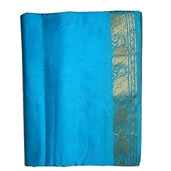 Sari Turquoise brocart doré mode d'emploi et Bindis compris vêtement traditionnel indien