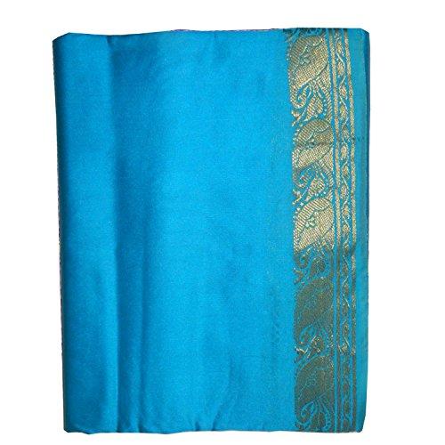(indischerbasar.de Sari türkis Goldbrokat traditionelle Bekleidung Indien Tracht Wickelanleitung)