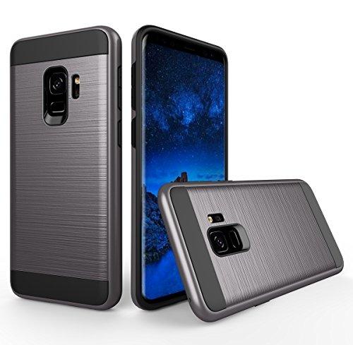 Samsung Galaxy S9 Handyhülle Silikon Casefirst TPU Case Schale Schlank Anti-Fingerabdruck Stoßfest Schutzhülle 360 Grad Case Robust Schutzhülle Cover mit Eingebautem Displayschutz für Samsung Galaxy S9 (Grau)