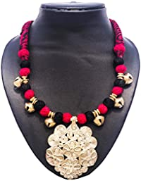 Pentacrafts Dhokra Art Designed Women Girl Necklace Set, Color Black & Gold
