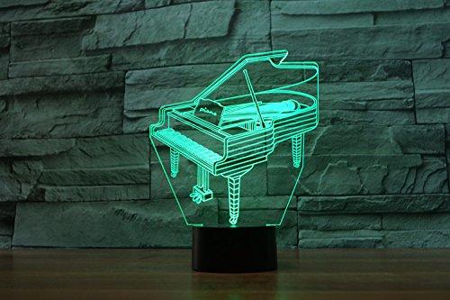 LED Nachtlicht,KINGCOO Magical 3D Visualisierung Amazing Optische Täuschung Touch Control Light 7 Farben ändern Schreibtischlampen für Kinderzimmer Home Decoration Best Geschenk (Piano) - 8