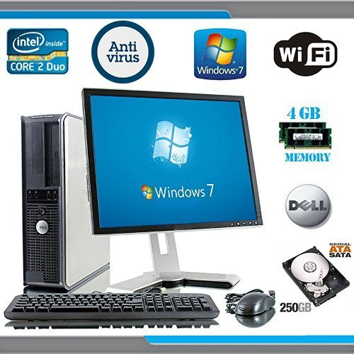 Dell OptiPlex Computer Tower with Dell LCD Black / Silver Monitor - Intel Core 2 Duo CPU - 250GB Hard Drive - 4GB RAM - DVD - Wireless Internet Ready - Keyboard and Mouse - Genuine Windows 7