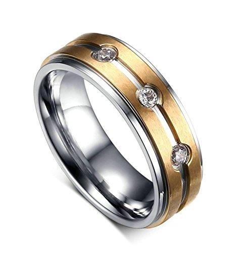 Aooaz Edesltahl Damen Ring Klassiker Gold Gravur Silber Ringe Breite 6MM Damen Ring Trauung Ringe Biker Größe 65 (20.7) (Männer Gold Iced Out Uhr)