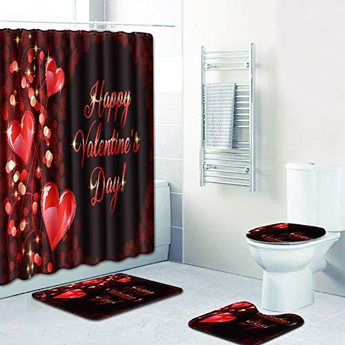 JLCP Duschvorhang Badematte Set 4-teilig, Valentine's Badzubehör Hochzeit Hauptdekoration Toilette Anti-Rutsch-Matte und Haken 180 * 180 cm 45 * 75 cm,5
