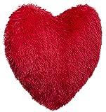 Brandsseller - Zottel Herzkissen kuscheliges plüsch Dekokissen Herzform ca. 45x45 cm - Rot