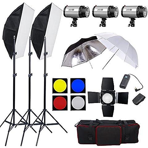BPS - Flash Estudio Fotografía Kit 750W (3*250W estroboscópica cabeza de flash con 75W lámpara de modelado + softbox para flash + paragua + fltro + barn door) - Kit estudio fotográfico adecuado para el disparo de retrato, vídeo y fotografía publicitaria