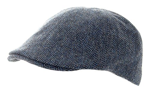 Heritage Traditions Blue Herringbone Tweed Panel Cap Hat Herringbone Tweed Cap