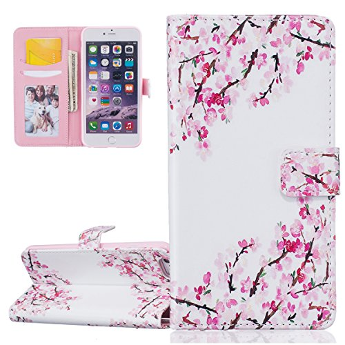 Hülle für iPhone 6 6S, Tasche für iPhone 6 6S, Case Cover für iPhone 6 6S, ISAKEN Malerei Muster Folio PU Leder Flip Cover Brieftasche Geldbörse Wallet Case Ledertasche Handyhülle Tasche Case Schutzhü Pflaume Blume