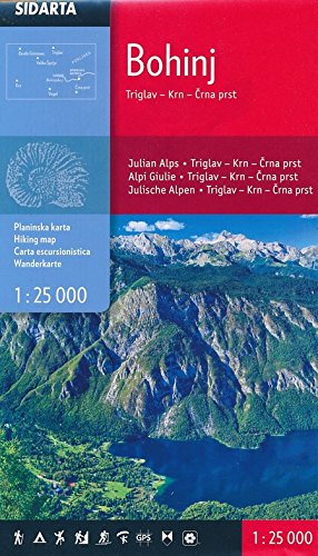 Bohinj - Triglav - Krn - Crna prst (Julische Alpen) Carta escursionistica Slovenia 1:25 000 covering from Triglav in the North to just south of Vogel escursioni e trekking alla scoperta della natura