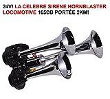 LCM2014 24V ! S'ENTEND A 2KM ! HORNBLASTER KLAXON LOCOMOTIVE 3 TROMPES CHROMEES 165DB ! LA CELEBRE HORNBLASTER ! PUISSANCE INCROYABLE ! RAID PREPARATION 4X4