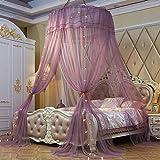 Kuppel Moskitonetze,runde Spitze Vorhang,kuppel Baldachin Netting Prinzessin Bed Drapes Für Twin,queen-größe Betten,mit Farbige Glühbirnen-bohnensand Queen1