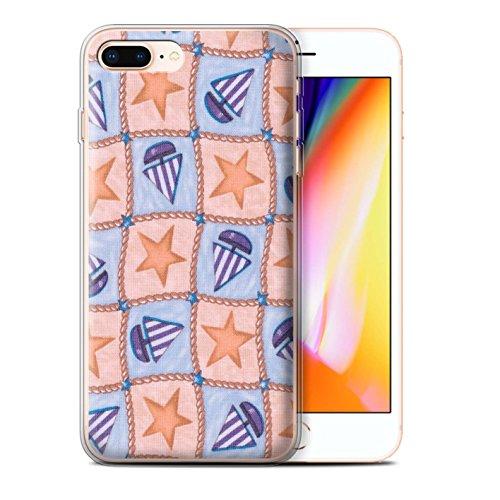 Stuff4 Gel TPU Hülle / Case für Apple iPhone 8 Plus / Pfirsich/Lila Muster / Boote und Sterne Kollektion Pfirsich/Lila