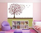 selbstklebende Fototapete - Kinderbild - Baum aus Herzen II - Herzbaum - Vintage - 200x200 cm - Tapete mit Kleber – Wandtapete – Poster – Dekoration – Wandbild – Wandposter – Wand – Fotofolie – Bild – Wandbilder - Wanddeko