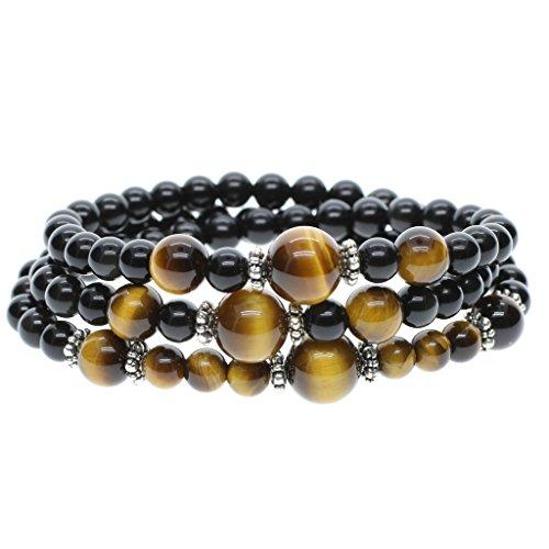 Bracelet/Collier Mala Pierres Naturelles Obsidienne Noire Perles de Méditation Œil de tigre Jaune Lien Poignet Unisexe