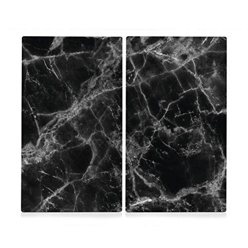 Schwarz-marmor (Zeller 26314 Herdabdeck-/Schneideplatten Marmor, 2-er Set, Herdabdeckplatte, Glas, Schwarz, 30 x 52 x 1 cm, 2 Einheiten)