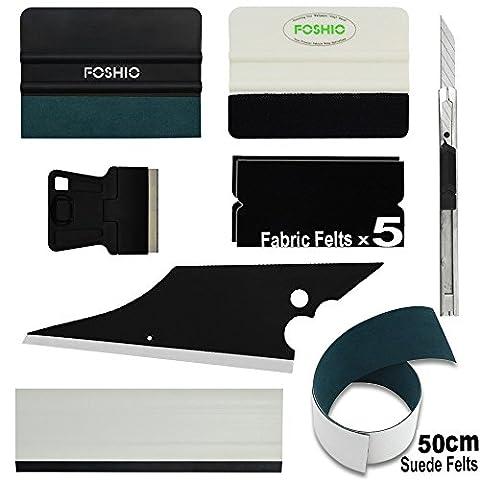 FOSHIO outil vinyle Kit 8 en 1 Fenêtre, Tint outil Inclure micro-fibres et de tissus en feutre Raclette, avec feutre de rechange, Couteau verrouillables et grattoir, bloc et Conquer Raclette