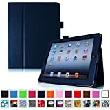 Fintie Folio Case for iPad 4th Generation with Retina Display, the New iPad 3 & iPad 2 - Slim Fit Vegan Leather Smart Cover with Auto Sleep / Wake Feature - Navy