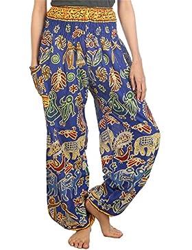 Lofbaz Mujer Harem Boho Pantaloni Cintura Elástica
