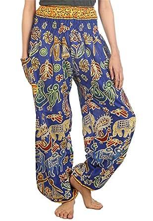 Lofbaz Damen Haremshose mit gesmoktem Bund Elefantendruck 2 Blau M