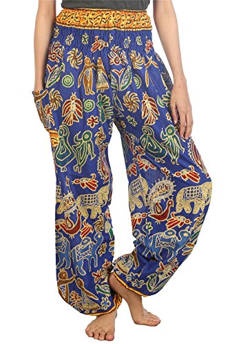 Lofbaz Mujer Harem Boho Dulce Elefantes Cintura Elástica Pantaloni Azul 3XL