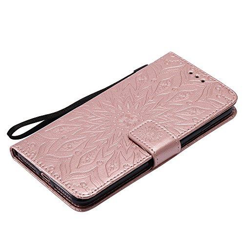 EKINHUI Case Cover Für Apple IPhone 7 Plus Case, Prägen Sonnenblumen Magnetic Pattern Premium Soft PU Leder Brieftasche Stand Case Cover mit Lanyard & Halter & Card Slots ( Color : Red ) Rose Gold