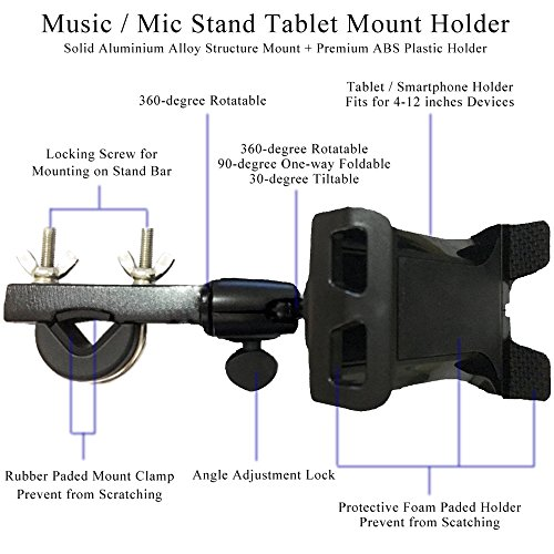 "Tencro 4-12 Inches Music / Microphone Stand Tablet Holder Phone Cradle Mount for Apple iPhone iPad, Google Nexus, Galaxy Tab and Any Other 4-12"" Smartphones & Tablets"