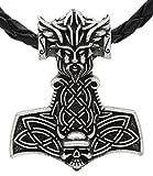 Vikingo Thor martillo colgante collar Thor-cara cráneo cabeza de plata antigua de los nórdicos runen con cuero genuino