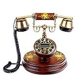 Vintage Telefon/Retro Telefon mit Holz- und Metallgehäuse, Funktiona Classic Set BT Antik - Braun