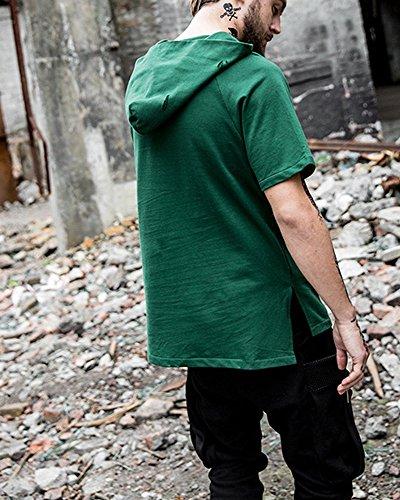 ETASSO Herren Hooded T Shirt Lässiges Shirt Hoodies Jungen Streetwear mit Löchern Grün