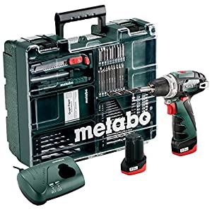 Metabo 600080880 Akku-Bohrschrauber klein PowerMaxx BS Basic Set 10,8V, 2x 2Ah Li-Ion Akkus, inklu. Ladegerät, im Koffer…