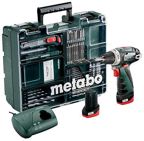 Metabo 600080880 Akku-Bohrschrauber klein PowerMaxx BS Basic Set  10.8V, 2x 2Ah Li-Ion Akkus, inklu. Ladegerät, im Koffer, mit 64-teiligem Zubehör-Set, max. Drehmoment: 17Nm (weich)/ 34Nm (hart)