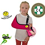 Child Arm Sling Shoulder Support (Rasp, 2-3yrs) XTRA deep, light, airflow cooling ULTRA COMFORT. PLAY-SAFE with integrated functional thumb loop, easy sizing adjustable fit, reversible L/R arm. Includes SMILEY sticker. UNISEX.