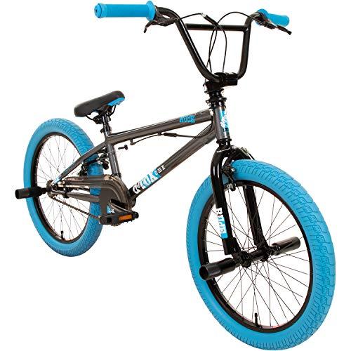 DETOX Rude 20 Zoll BMX Fahrrad Bike Freestyle Street Park Rad Modell 2019 Anfänger ab 140 cm 4 x Stahl Pegs 360° Rotor (grau/blau)