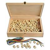 Fädelbuchstaben - Würfel - 300 Stück - in einer Holzbox