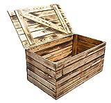 Neue Holztruhe geflammt *groß* - Truhe Holzkiste Wäschetruhe Aufbewahrungskiste Obstkisten Kiste mit Deckel flambiert / flammbiert massiv85x55x46cm