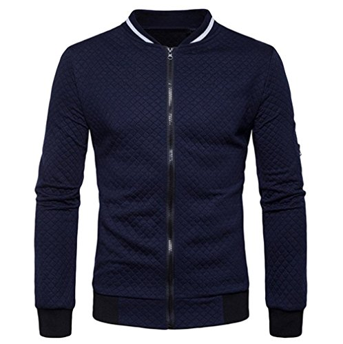 Männer Plaid Strickjacke Cloom Leichte Herrenjacken Zipper Sweatshirt Tops Outwear Sport herrenoberbekleidung Herbst übergangsjacke Jung Herren Mantel Slim Fit Business Windbreaker (XL, Marine)