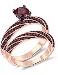 Silvernshine 2.35Ct Round RedGarnet CZ Diamonds 18K RoseGold PL 7-Row Engagement Bridal Ring Set