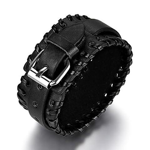 JewelryWe Bijoux Bracelet Homme et Femme Manchette Punk Rock Cuir