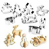 8-tlg Set 3D Edelstahl Keks Ausstecher Kuchen Plätzchen Ausstecherform Weihnachten mit präzises Ausstechen angenehme Handhabung