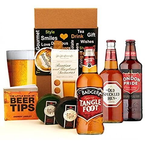 Beer Gift Hamper - Cheese and Beer Fest Gift for Men Available for Next Day Delivery - Happy Birthday Beer Gift Sets for