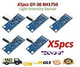 TECNOIOT 5pcs GY-30 BH1750 BH1750FVI Chip Light Intensity Sensor Light Illumination