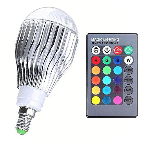 Bombilla LED de cambio de color LifeBee 10W E14 RGB, regulable 16 opciones de color, iluminación de humor, pequeño tornillo Edison para la decoración del hogar Lámparas de efectos de escenario KTV